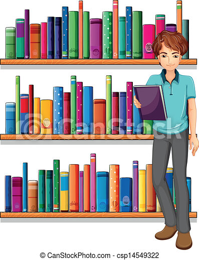 A man in the library - csp14549322