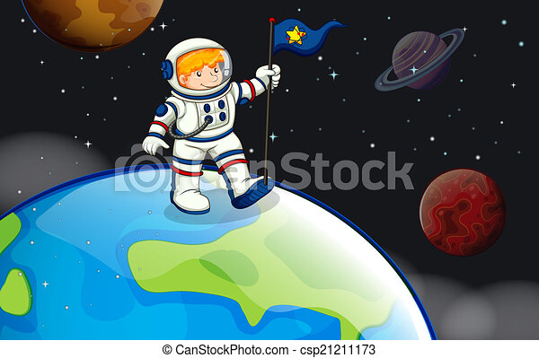 A man in the outerspace - csp21211173