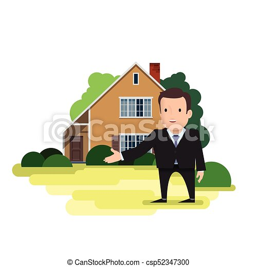 A man is a real estate agent standing in front of the house - csp52347300