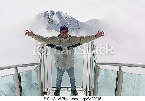 A man is pleased am Dachstein - csp26430015