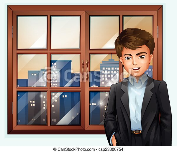 closed window clipart. a man near the window - csp23380754 closed clipart d