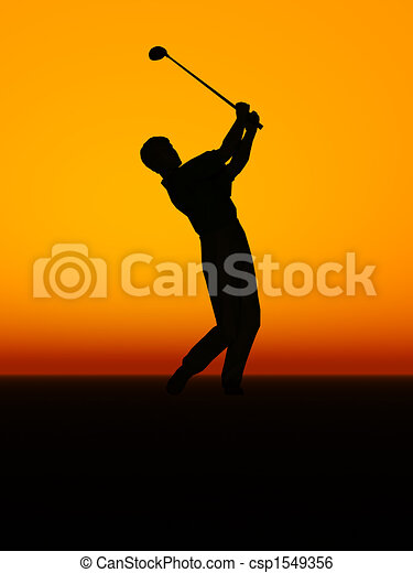 A man performing a golf swing. - csp1549356