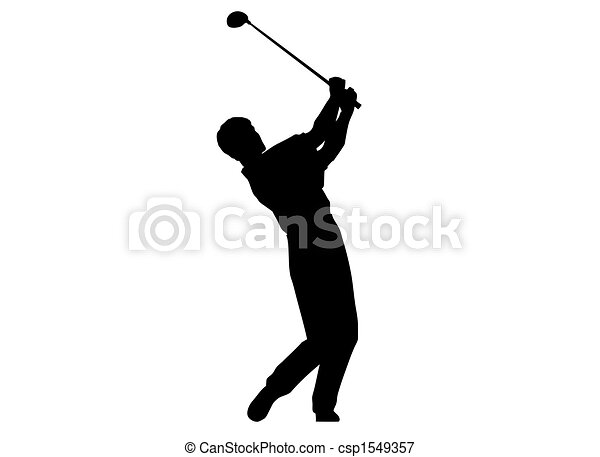 A man performing a golf swing. - csp1549357
