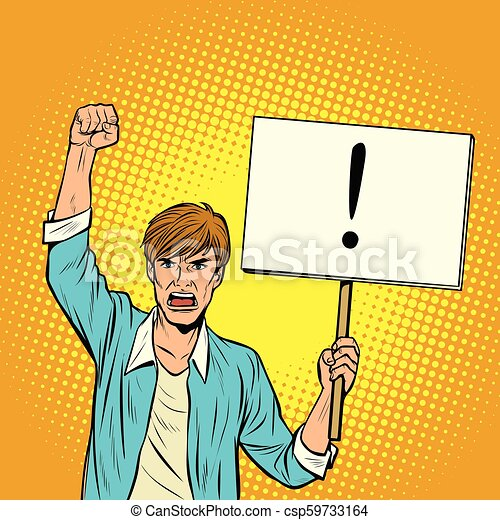 A man protests with a poster - csp59733164