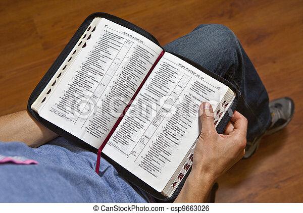A man reads the Bible - csp9663026