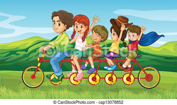 A man riding a bike with four kids - csp13078852