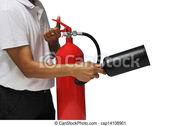 A man showing how to use fire extinguisher isolated over white background - csp14108901