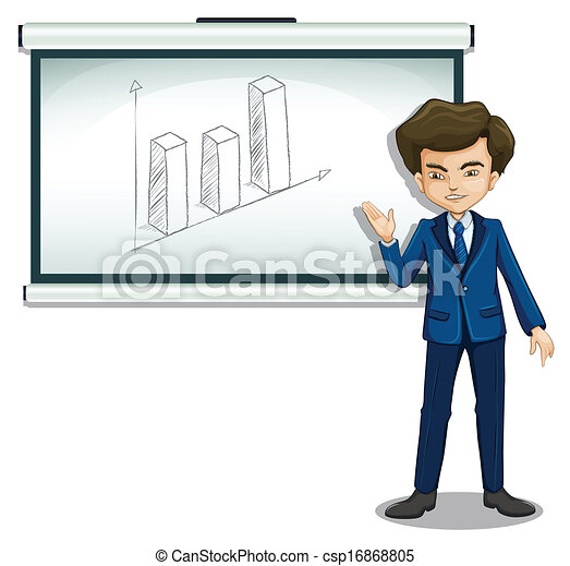 A man standing in front of a bulletin board with a graph - csp16868805