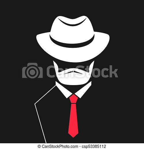 1b0432526090 A man with a beard in a hat, tie. logo for barbershop, men's store.