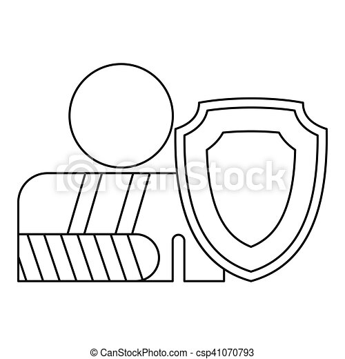 A man with a broken hand icon, outline style - csp41070793
