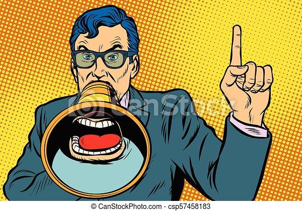 a man with a megaphone - csp57458183
