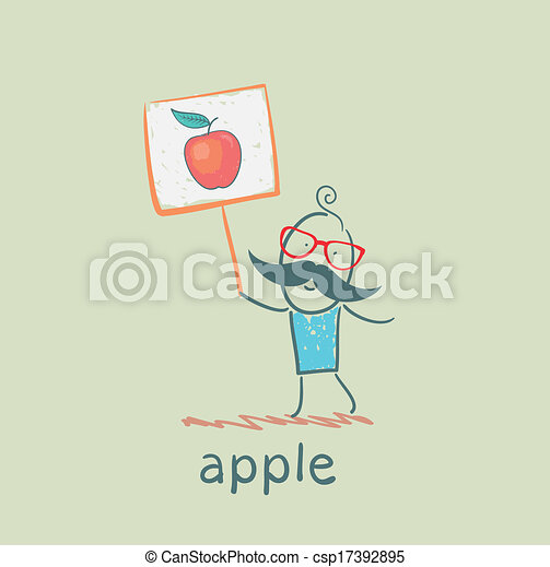 a man with a sign painted apple - csp17392895