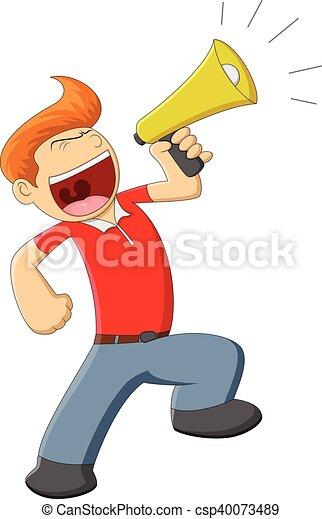 a man with megaphone cartoon full color rh canstockphoto com megaphone cartoon megaphone cartoon sketch