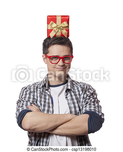 A man with present box on the head, white background. - csp13198010