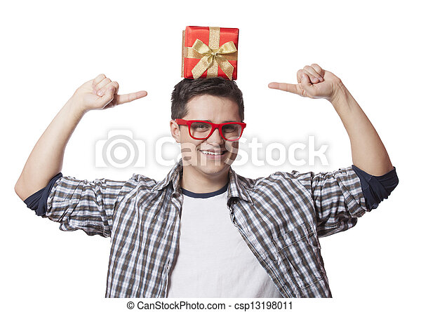 A man with present box on the head, white background. - csp13198011