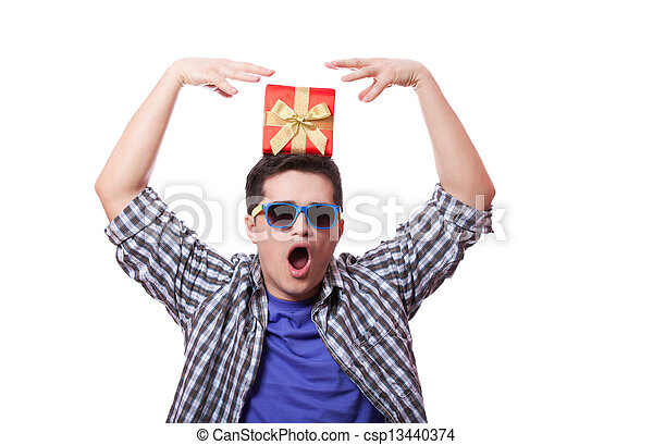 A man with present box on the head, white background. - csp13440374