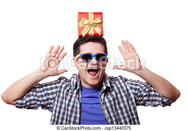 A man with present box on the head, white background. - csp13440375