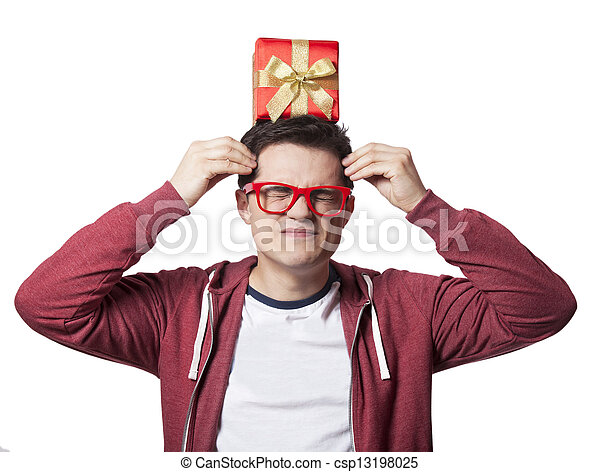 A man with present box on the head, white background. - csp13198025