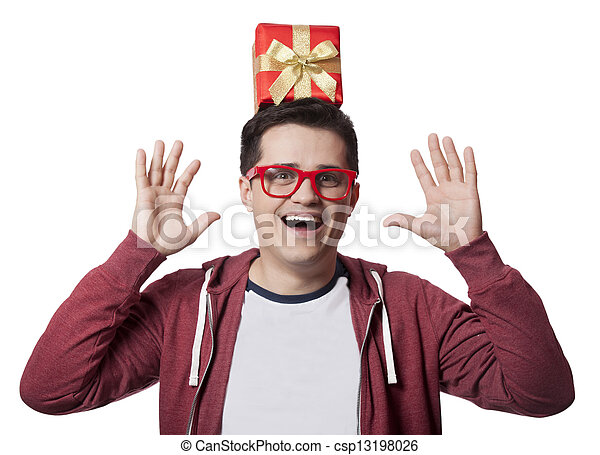 A man with present box on the head, white background. - csp13198026