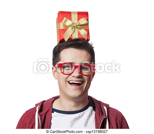 A man with present box on the head, white background. - csp13198027
