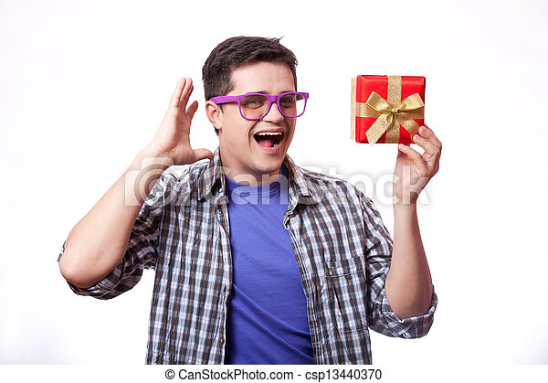 A man with present box, white background. - csp13440370