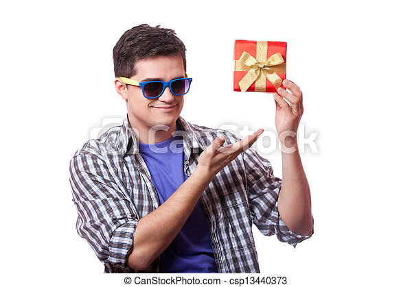 A man with present box, white background. - csp13440373