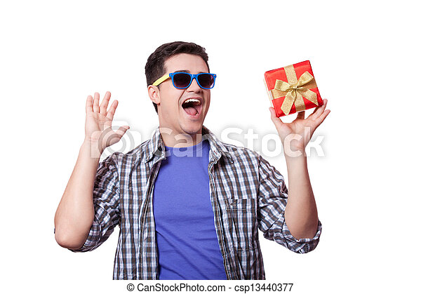 A man with present box, white background. - csp13440377