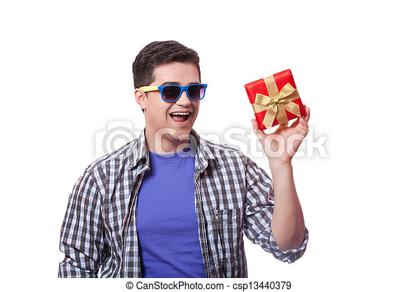 A man with present box, white background. - csp13440379