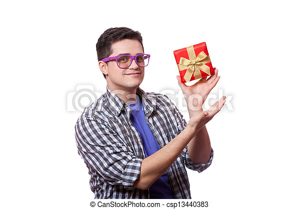A man with present box, white background. - csp13440383