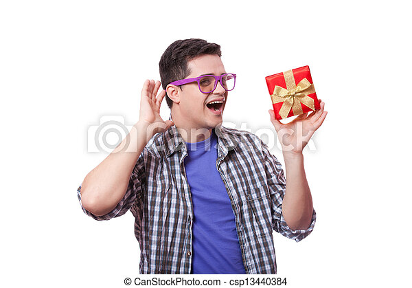 A man with present box, white background. - csp13440384
