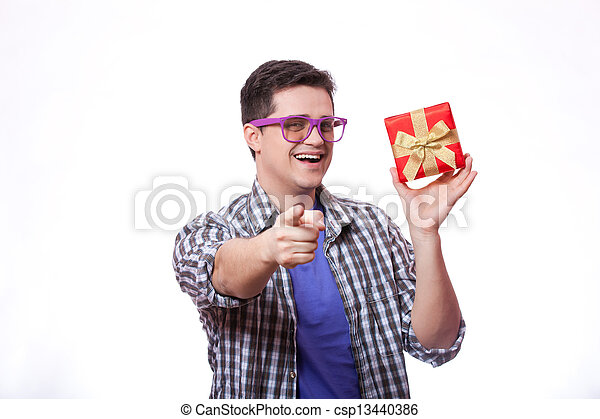 A man with present box, white background. - csp13440386