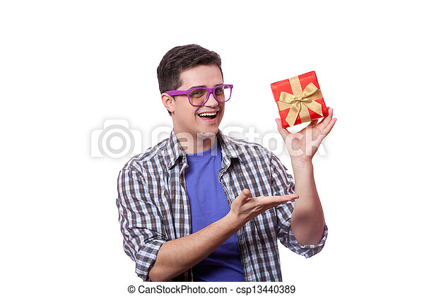 A man with present box, white background. - csp13440389