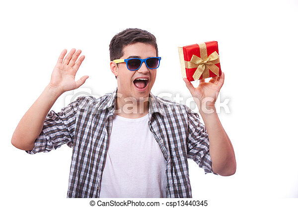 A man with present box, white background. - csp13440345
