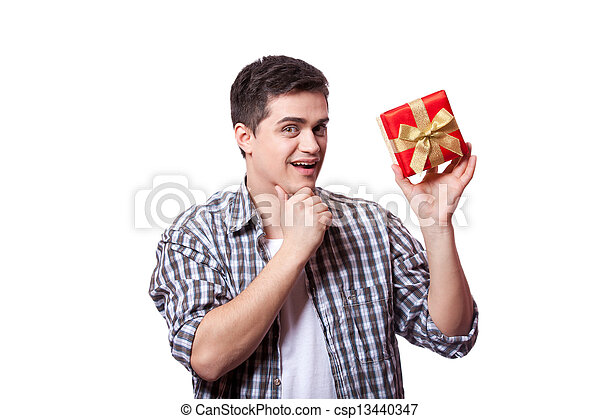 A man with present box, white background. - csp13440347