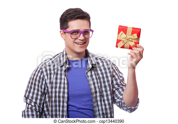 A man with present box, white background. - csp13440390