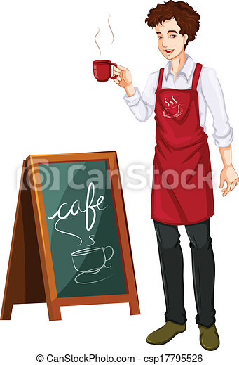 A man working in a cafe - csp17795526