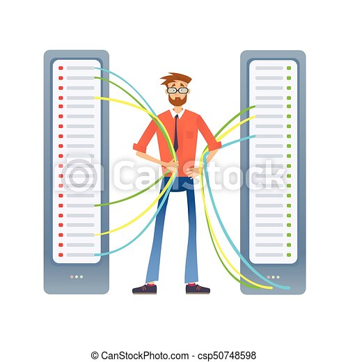 A man working with a computer server or a render farm.... eps ...