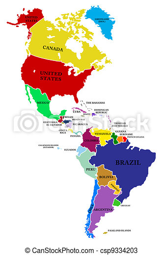 A Map North And South America On A White Background Drawings - North america map drawing