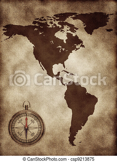 A map north and south america. A map with a compass north and south ...