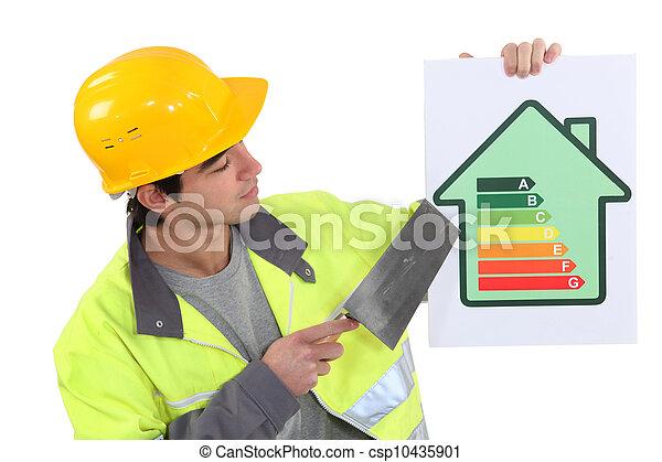 A mason promoting energy savings. - csp10435901