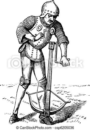 A medieval crossbowman soldier vintage engraving. - csp6205036