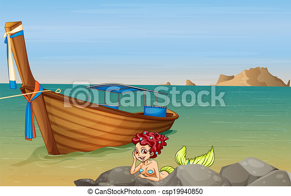 A Mermaid At The Sea Near Wooden Boat