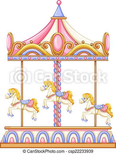 A merry-go-round rotating ride - csp22233939