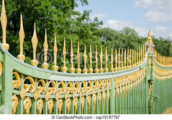 A metal fence of the 18th century in Potsdam, Brandenburg, Germany - csp19197797