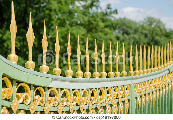 A metal fence of the 18th century in Potsdam, Brandenburg, Germany - csp19197800