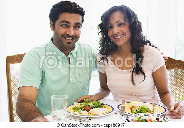 A Middle Eastern couple enjoying a meal together - csp1889171