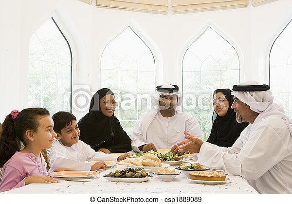 A Middle Eastern family enjoying  - csp1889089
