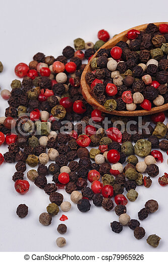 A mixture of red, black, green and white pepper - csp79965926