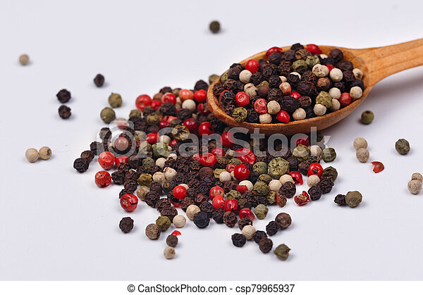 A mixture of red, black, green and white pepper - csp79965937