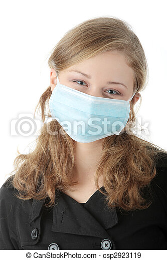 A model wearing a mask to prevent \'Swine Flu\' infection. - csp2923119